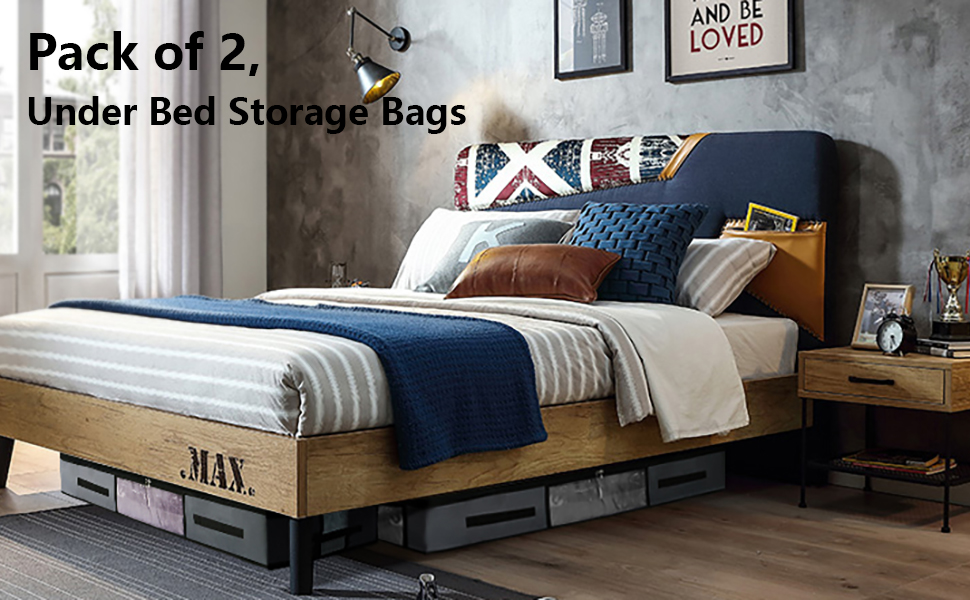 with Clear Window and 3 Handles AMJ Underbed Storage Bags Large Set of 2 Blanket Clothes Organizer Container Comforter Quilt Duvet Storage Bag Breathable Blue Grey