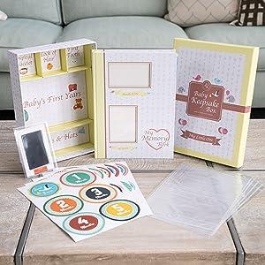 baby memory book and keepsake box set