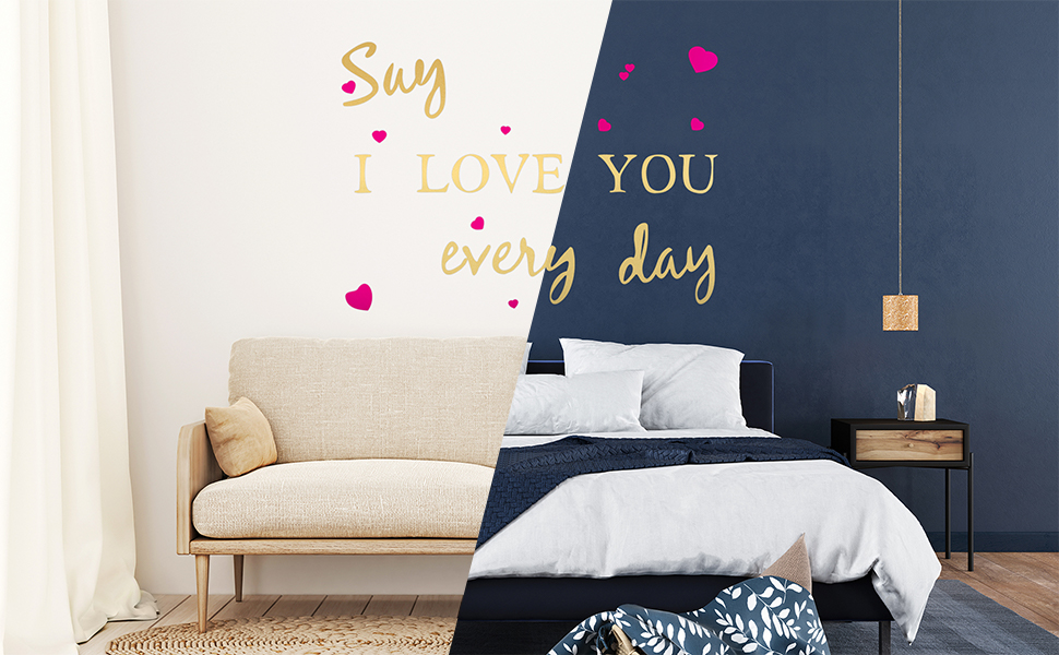 Gold Wall Decals for Living Room, Cute Art Stickers for Bedroom, Home Decorations for Bathroom
