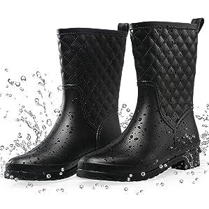 women's waterproof black rain boots lightweight mid calf wide calf garden boots rain shoes for women