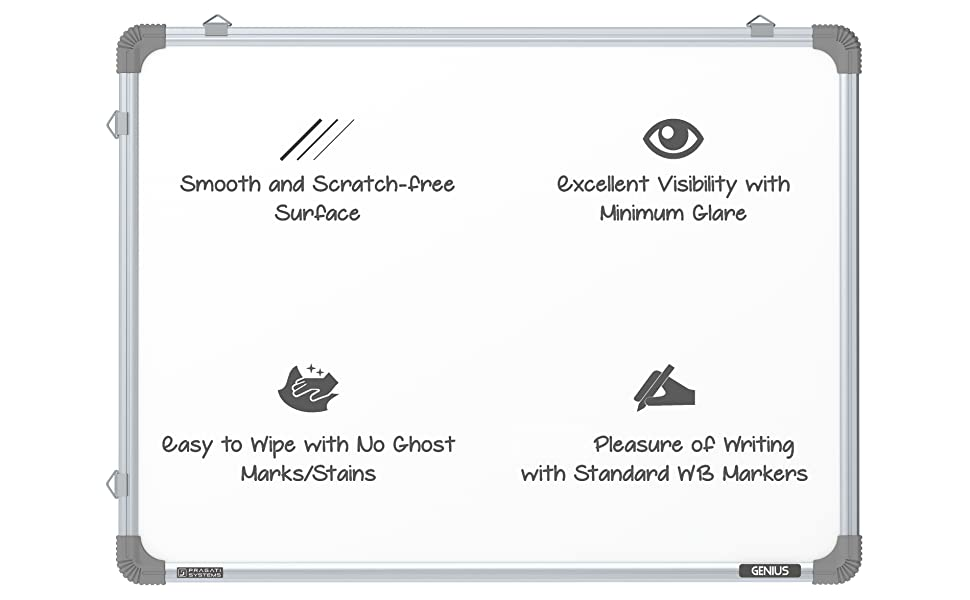 pragati systems genius magnetic whiteboard for writing home office school kids 1.5x2 2x3 3x4 feet