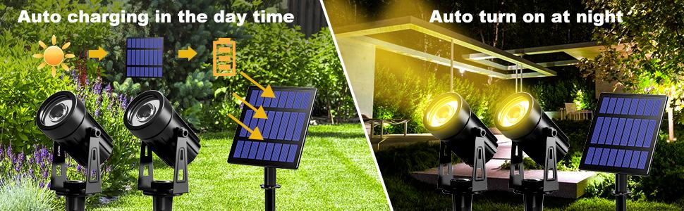 solar spotlights auto charging