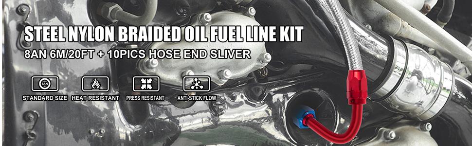 steel nylon braided oil fuel line kit