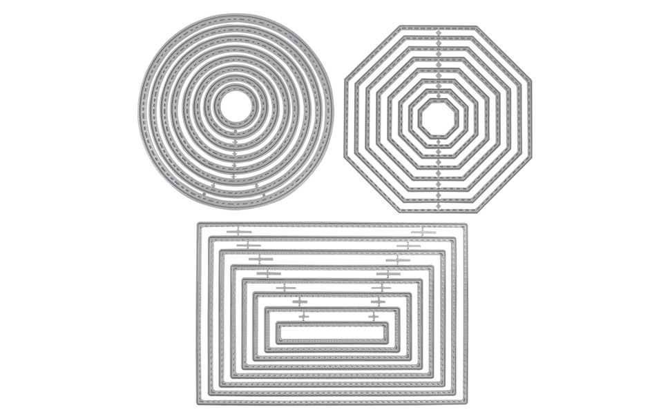 Rectangle, Circle /& Octagon Album Paper DIY Crafts /& Card Making 3 Different Shapes of Cutting Dies Stencil Metal Template Molds DaKuan 24 Pieces Embossing Tools/for Scrapbook