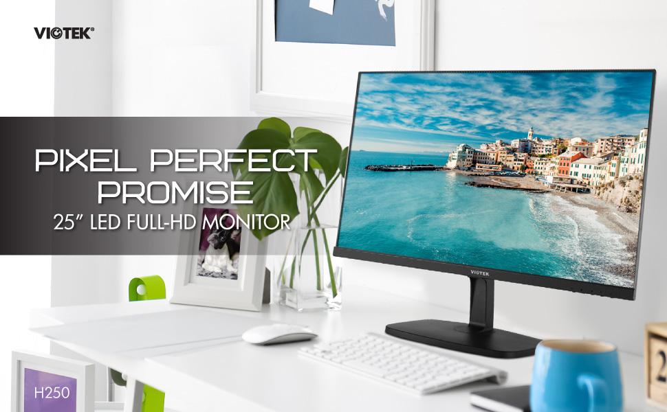 VIOTEK H250 25-Inch Flat-Screen Full-HD Monitor — Optimized 75Hz Refresh Rate (Updated Model)