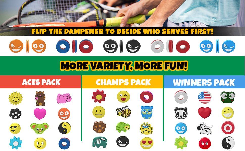 tennis dampener shock absorbers fun goofy flag frog pig ying yang smiley love bee panda flower koala