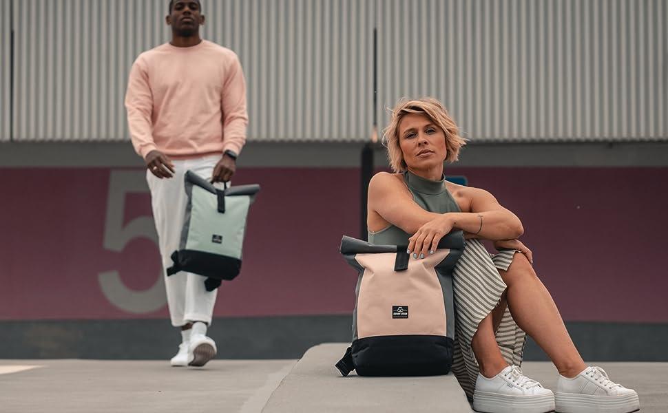 roll top rucksack mint rosa Herren Damen Johnny Urban