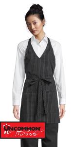 v neck apron waitress black tie elegant event attire pin stripe pinstripe scoot neck vneck apron