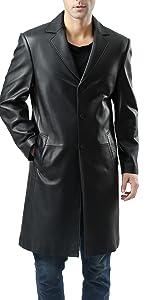BGSD Men's Classic Leather Long Walking Coat