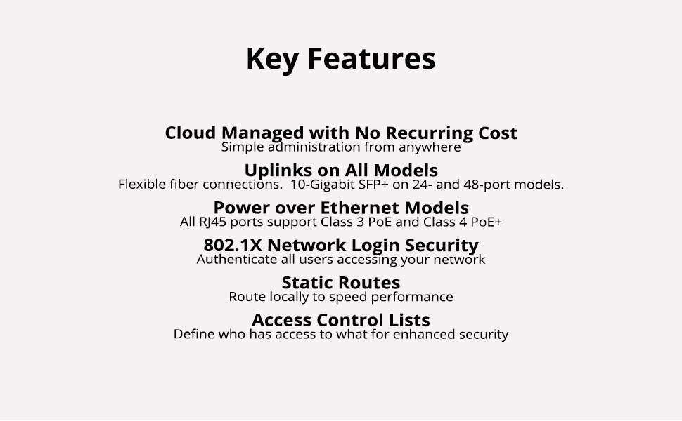 Key Features and info