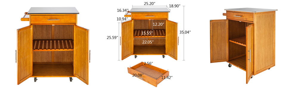 Rolling Kitchen Cart On Wheels Cabinet Storage Cart Island