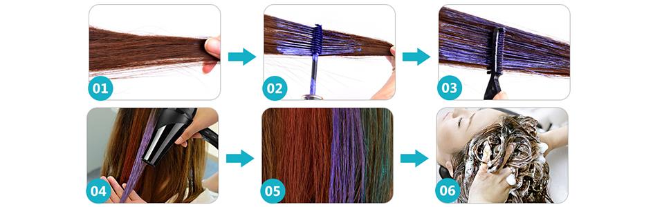 Tiza de Pelo, Cabello Tiza, Temporales de Cabello, Dye Touchup Mascara,6 Colores Temporal Tiza de Pelo No Tóxicas Lavables Color de Tiza Para Niños ...