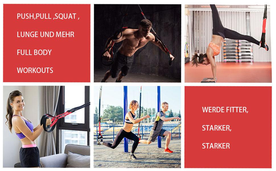 UONNER Kit de entrenamiento con sistema de suspensión, correas de entrenamiento ajustables con anclajes para puertas, entrenamiento profesional para ...