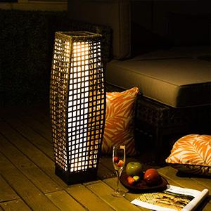 Grand patio Draussen Solarbetrieben Terrassen-Beleuchtung Gewebte Harz Wicker Stehlampe f/ür Deck,Garten,Rasen,Auffahrt,Schwimmbad,Veranda