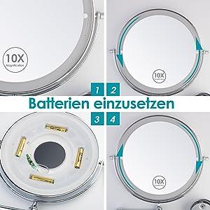 Auxmir Kosmetikspiegel LED Beleuchtet mit 1X / 10X Vergrößerung, Dimmbarer Schminkspiegel