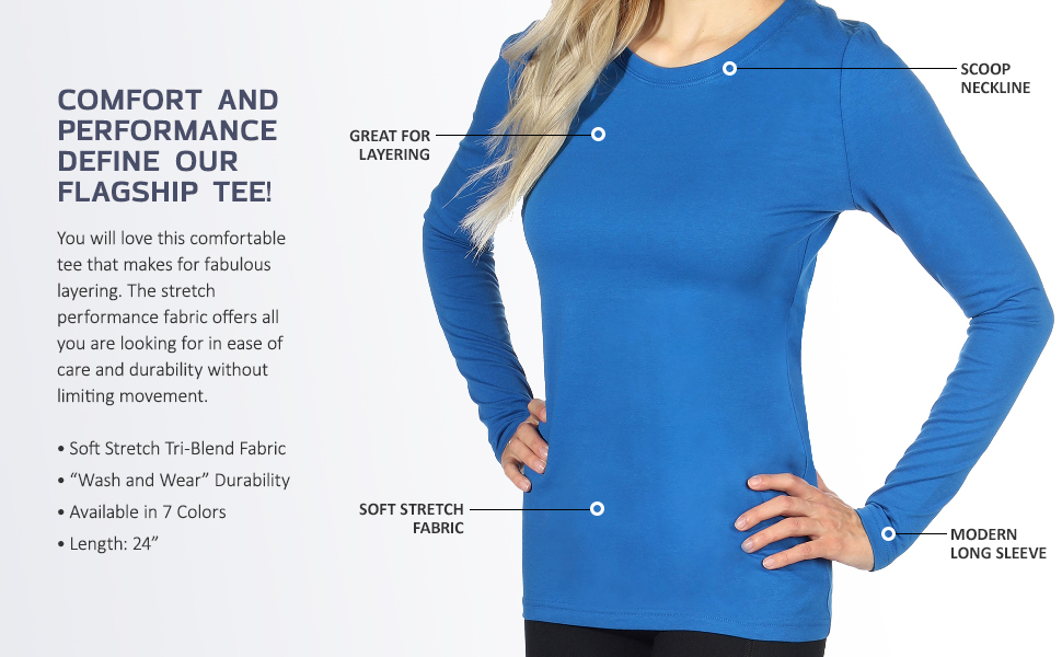 Infographic showing how comfortable the Topstitch Under Scrub Tee is. Model wears tee on right side.