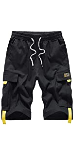Men's Casual Cotton Loose Fit Lightweight Multi-Pockets Cargo Shorts
