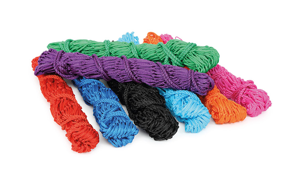 Image of a pile of the nets showing the 8 colors