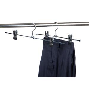 11.81 Amber Home 30cm Length Metal Slacks Pants and Skirt Hanger Chrome with Non-Slip Adjustable Clips 12-Pack/ M0202