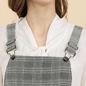 Women's Plaids Adjustable Strap Above Knee Suspender Dress