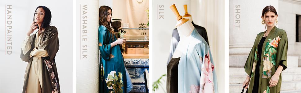 KIM+ONO Women's Silk Kimono Robes - Handpainted - Washable Silk - Silk - Short