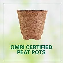 OMRI certified peat pots