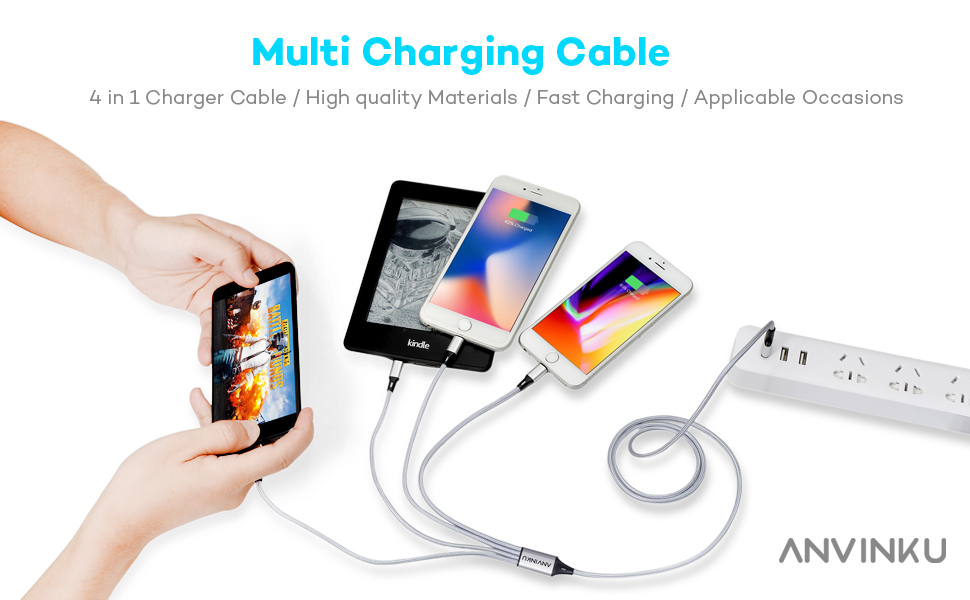 Multi Charging Cable Portable 3 in 1 Seamless Floral Pattern USB Cable USB Power Cords for Cell Phone Tablets and More Devices Charging
