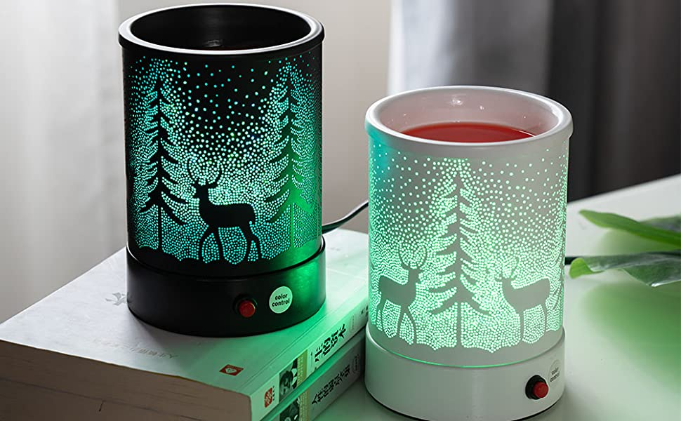 black forest 2 Lucktao Wax Warmer oil lamp for your scented wax melts classic Black pine forest deer 7 color lighting design home accessories