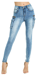 Women's Mid Rise Skinny Cargo Jeans Ankle Length Denim Pants