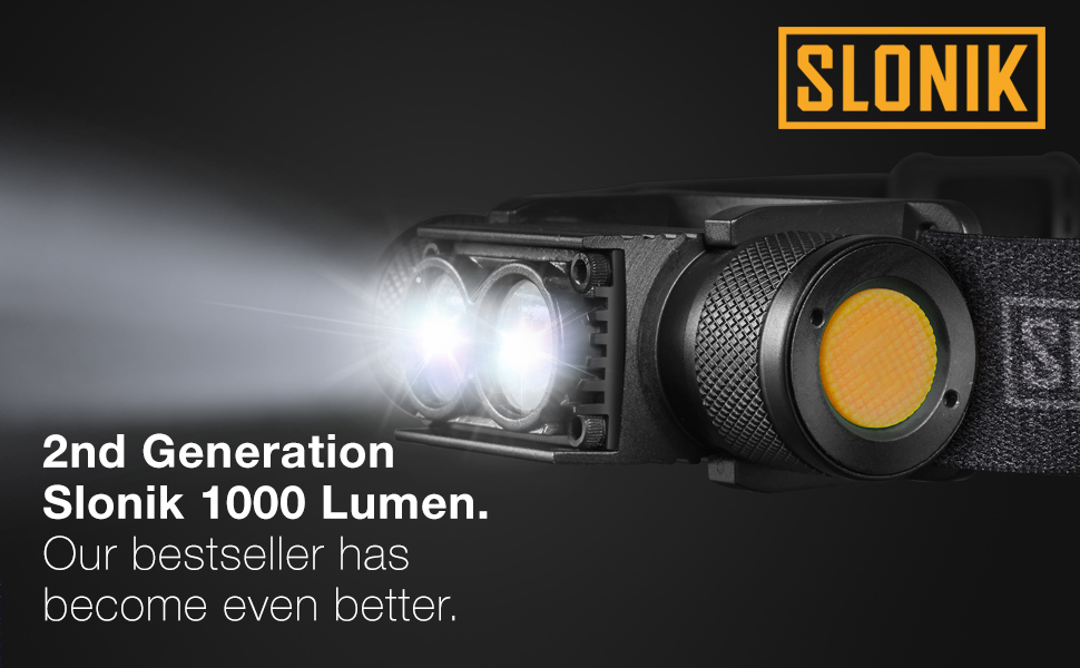 Slonik 2200mAh rechargeable 1000-lumen headlight, super compact, lightweight durable and inexpensive