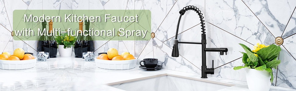 modern kitchen faucet with multi-functional spray