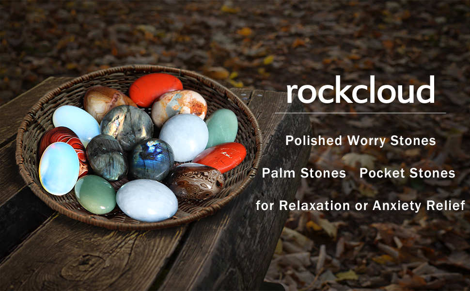 rockcloud Polished Worry Stones/Palm Stones/Pocket Stones for Relaxation or Anxiety Relief