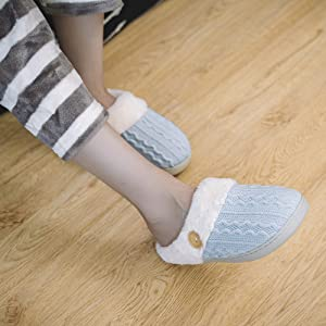 Men's Comfort Knitted Cotton Slippers Washable Flat