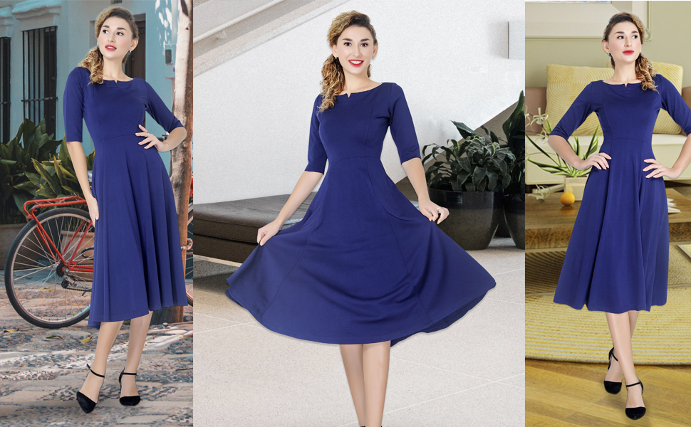 Marycrafts women's fit and flare dress, navy blue dress midi dresses
