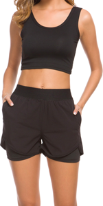 Jogging Shorts 2-in-1,women athletic shorts,Double Layer,Women Workout Fitness Running Shorts,