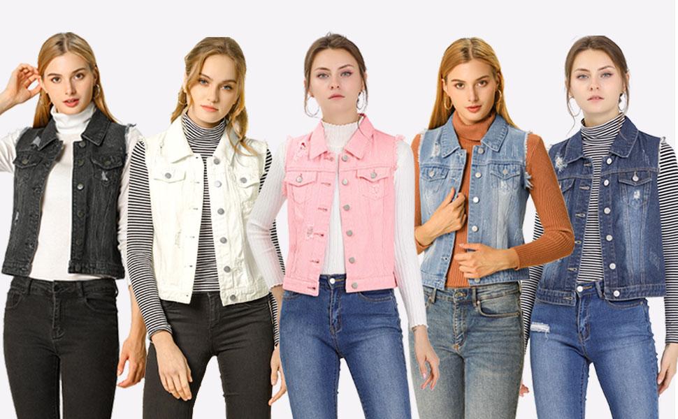 Women's Turn Down Collar Button Closure Denim Washed Vest