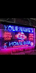 ps611-r Elise/'s Personalized Welcome Kitchen Bar Wine Neon Light Sign