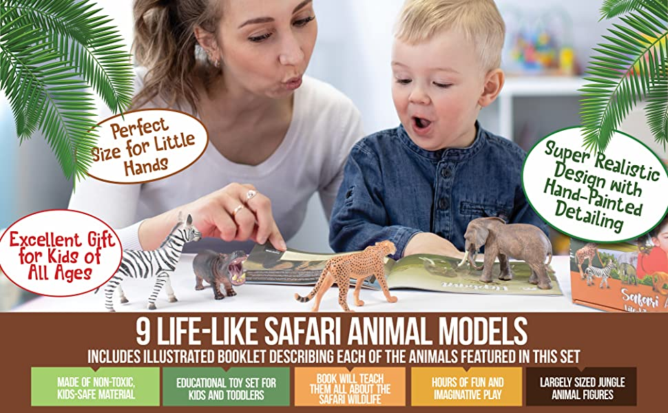 safari animals with book