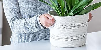 cotton rope basket laundry baskets diaper caddy nursery decor plant holder planter jute neutral kids