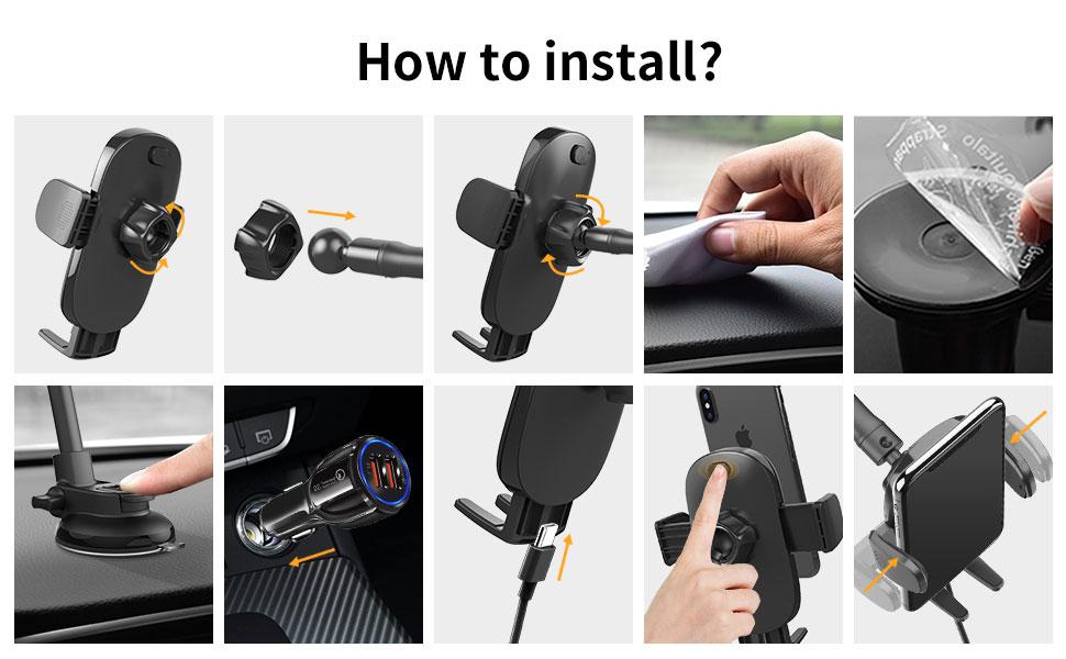 car phone holder mount charger
