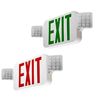 combo exit sign, led combo exit sign, adjustable combo exit sign