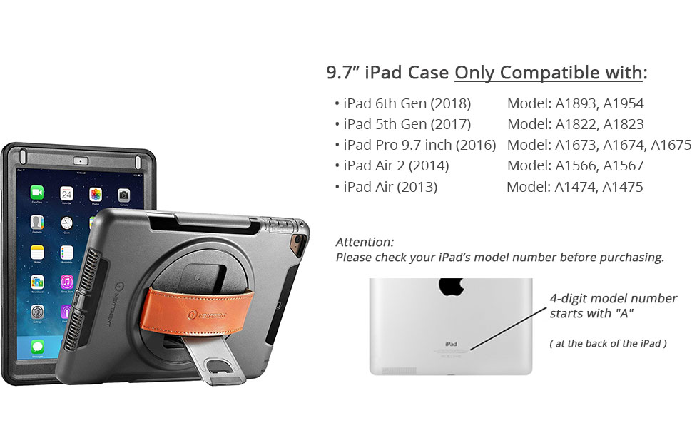 Amazon Com New Trent Ipad Case For Ipad 6th Generation Cases Ipad Air 2 Case Ipad Air Case Full Body Hand Strap Ipad 5th Generation Case With Rotational Kickstand Dual Layers Built In Screen Protector