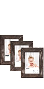 5x7 Rustic Picture Frames Set of 3 Brown