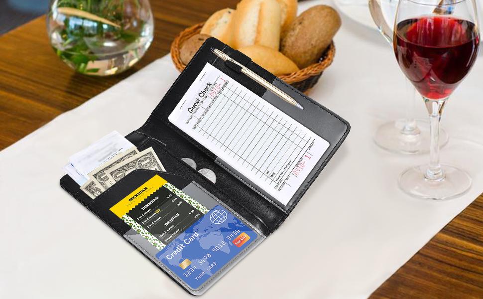Server Books for Waitress Glitter HerriaT waitress book with Zipper money Pocket Cute waiter Book