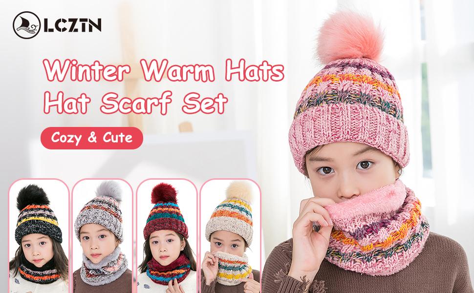 Duoyeree Kids Beanie Hat for Boys Girls Pom-pom Kint Hats Cozy Lining Winter Skull Cap