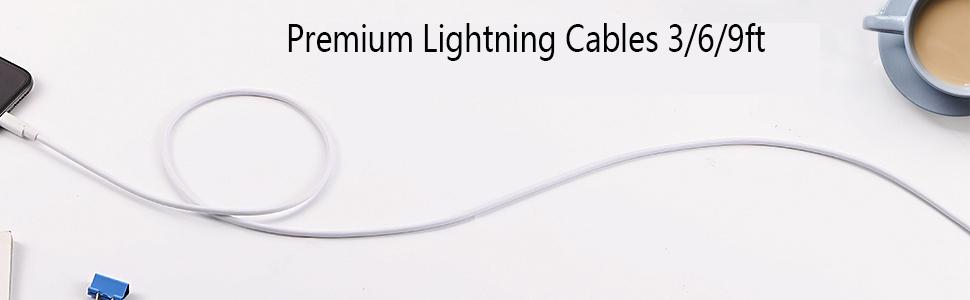 Premium Lightning Cables 3/6/9ft