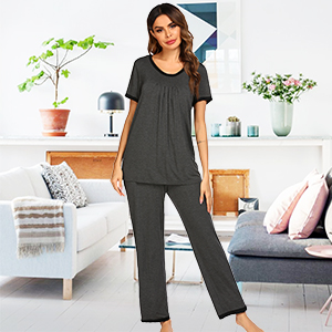 Loungewear Women Pajamas tops and Long pants Sleepwear Cotton Pajamas for Womens Pjs set