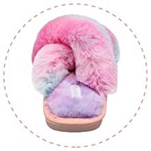 Kids Girls Boys Slip on House Slippers Bedroom Slippers Memory Foam Plush Criss Cross Slippers