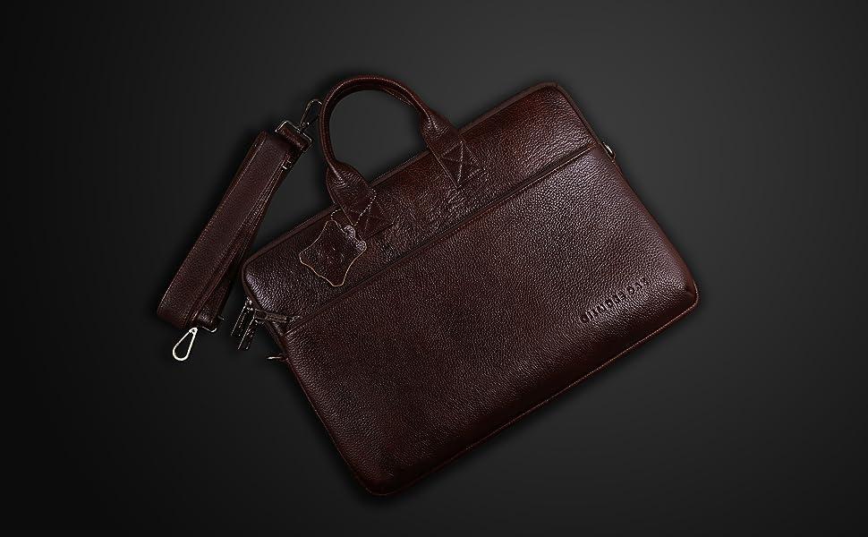 Laptop Office Carry All Sleek Design Portfolio Messenger Leather Bag