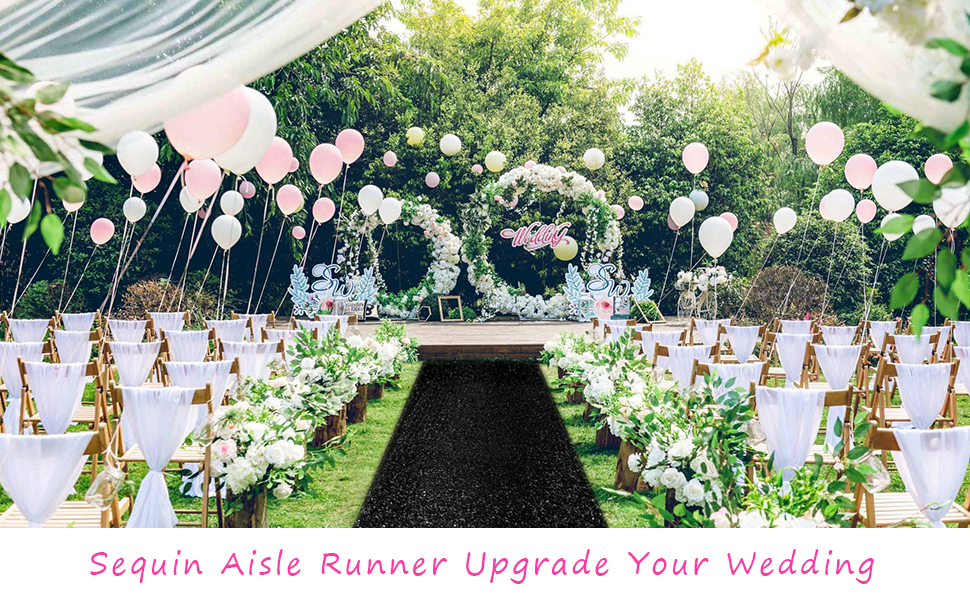Amazon Com Aisle Runners For Weddings Sparkling Aisle Runner Decoration Of Beach Church Wedding 4ftx30ft Black Kitchen Dining